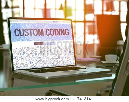 Laptop Screen with Custom Coding Concept.