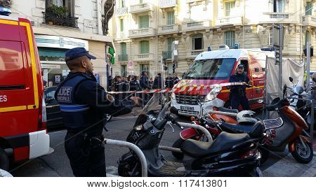 French Police And Firefighters In Nice, France
