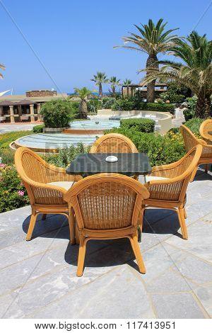 Al Fresco Seats On The Mediterranean Hotel Terrace