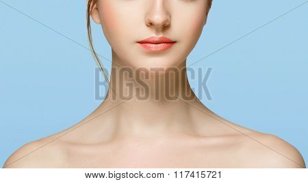 Shoulders Neck Chin Hands Beautiful Woman Portrait Face Studio Isolated On Blue