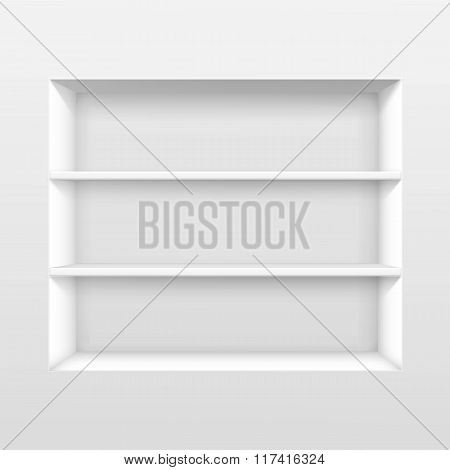 Vector White Empty Shelf Shelves Isolated on Wall Background poster