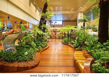 SINGAPORE - NOVEMBER 09, 2015: interior of Changi Airport. Singapore Changi Airport, is the primary civilian airport for Singapore, and one of the largest transportation hubs in Southeast Asia