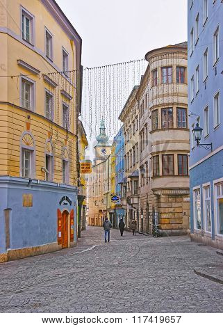 LINZ AUSTRIA - JANUARY 6 2014: Street view to Parish Church of Linz in Austria