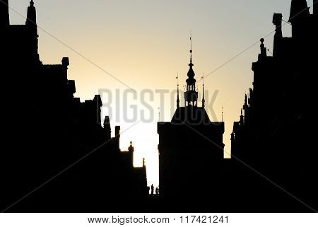silhouette of the Austro-Hungarian architecture, spiers on medieval houses