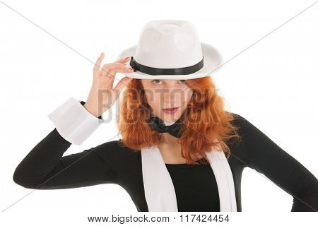 Portrait woman as dandy with hat and other accessories isolated over white background