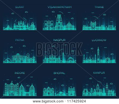 Set Indian cities vector illustration linear