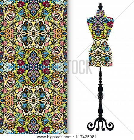 Vintage tailor's dummy, seamless floral geometric pattern