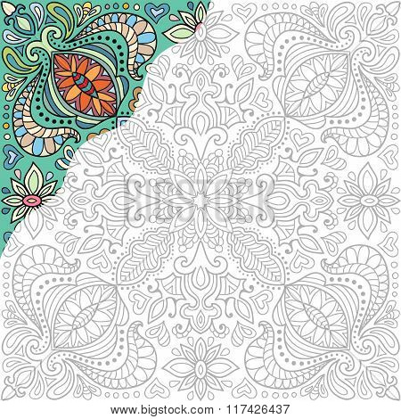Coloring book square page. Decorative floral ornament for painting