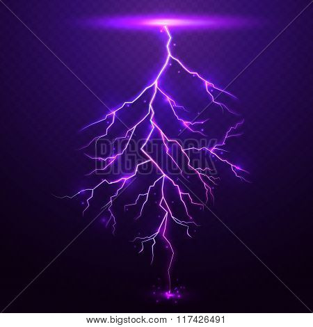 Lightning on purple background with transparency for design