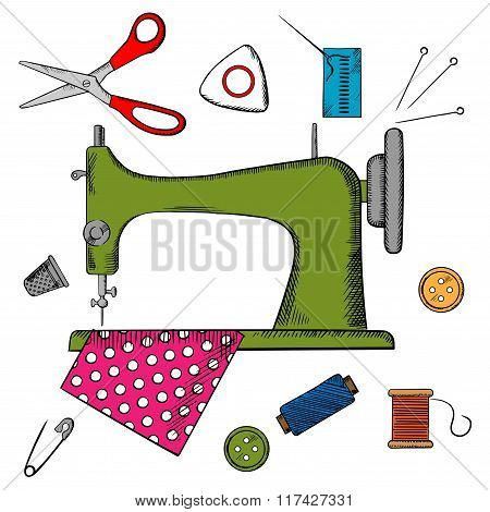 Flat sewing icons and machine