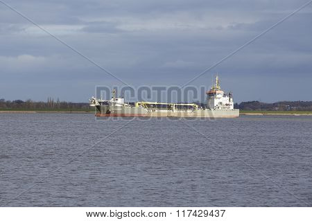 Steinkirchen (germany) - Suction Dredger Vessel On The Elbe