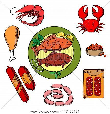 Seafood, chicken and meat food