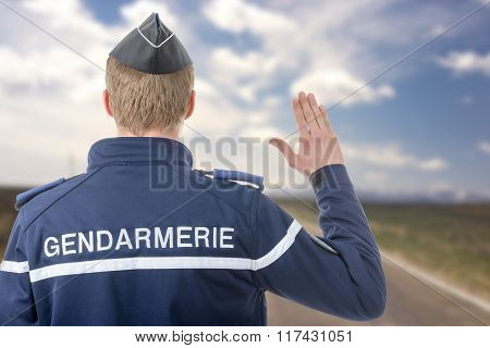 French Policeman On The Roadside