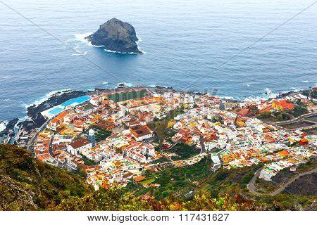 Aerial View Of Garachico Town On Tenerife Island, Canary, Spain