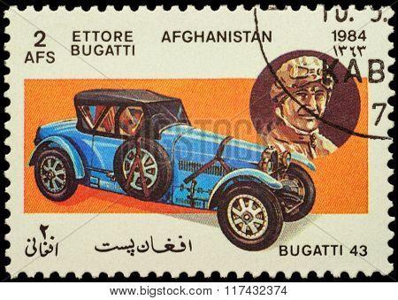 Old Car Bugatti Type 43 (1927) On Postage Stamp