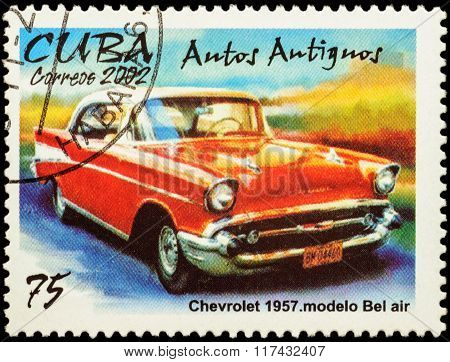 Old Car Chevrolet Bel Air (1957) On Postage Stamp