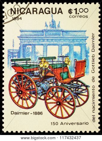 First Car Of Daimler (1886) On Postage Stamp
