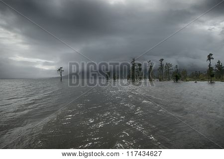 Rain storm over Lake Brunner, west coast, New Zealand