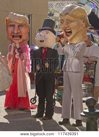Donald Trump, Hillary Clinton And Mr. Monopoly Costumes