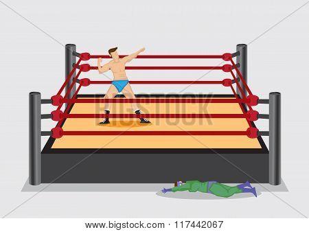 Winning Wrestler In Wrestling Ring Vector Cartoon Illustration
