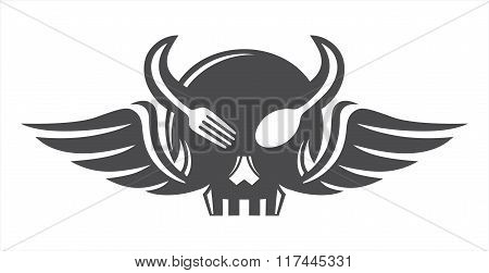 Skull eat horn wings