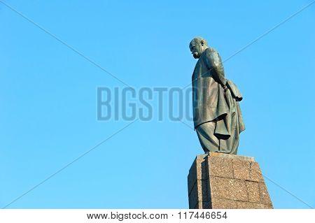 KIEV, UKRAINE - MAY 12, 2015: Taras Shevchenko monument in Kaniv Ukraine. Taras Shevchenko was a Ukrainian poet writer artist public and political figure.