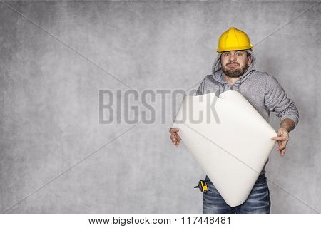 Worker Can Not Cope With The Plans Of Buildings