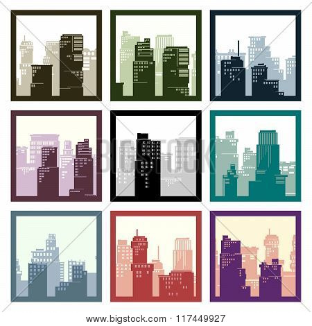 Abstract Square Framed Icons City High-rise Buildings.