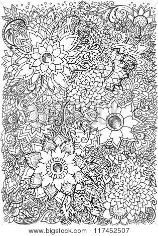Coloringbook, Drawing Background With Floral Patterns