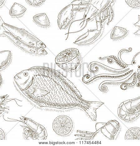 Seafood and fish set.