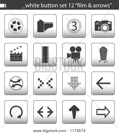 """White Button Set 12 """"Film & Arrows"""""""