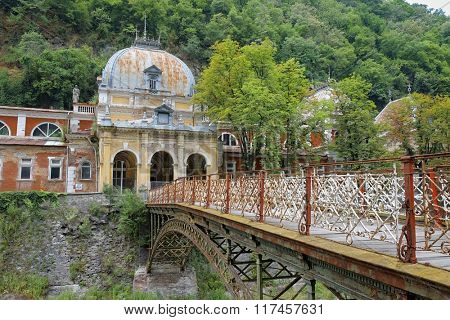 imperial austrian baths and wrought cast iron bridge in Baile Herculane, Romania poster