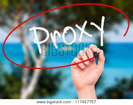 Man Hand Writing Proxy With Black Marker On Visual Screen.
