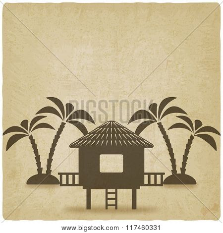 bungalow with palm trees old background