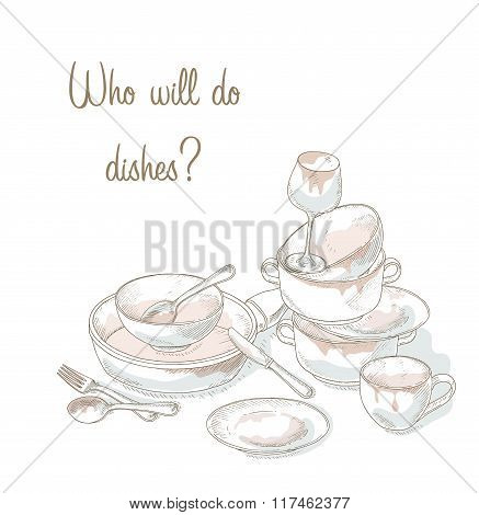 Stack dirty dishes