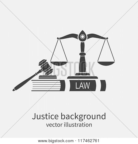 Symbol Of Law And Justice. Concept Law And Justice. Scales Of Justice, Gavel And Book. Vector