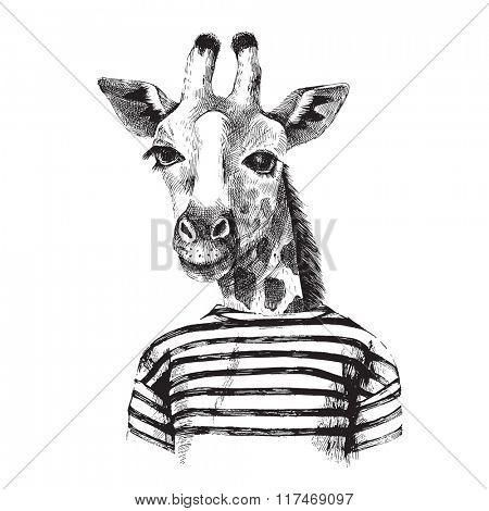 Hand drawn Illustration of dressed up giraffe hipster