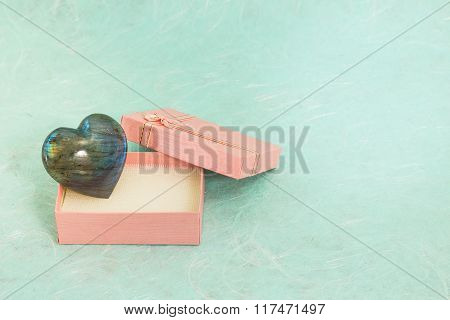 Heart Shape Of Labradorite In Small Gift Box