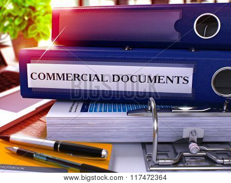Blue Ring Binder with Inscription Commercial Documents
