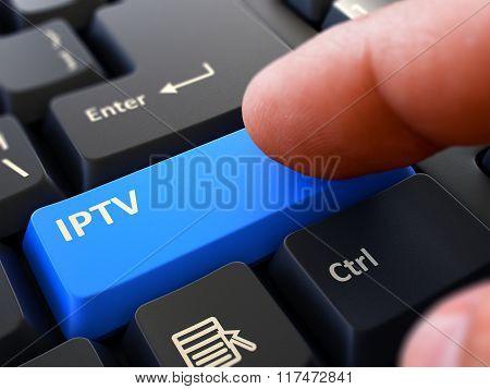 Finger Presses Blue Keyboard Button IPTV.
