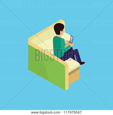 Isometric Man Sitting on Couch Isomertic Icon