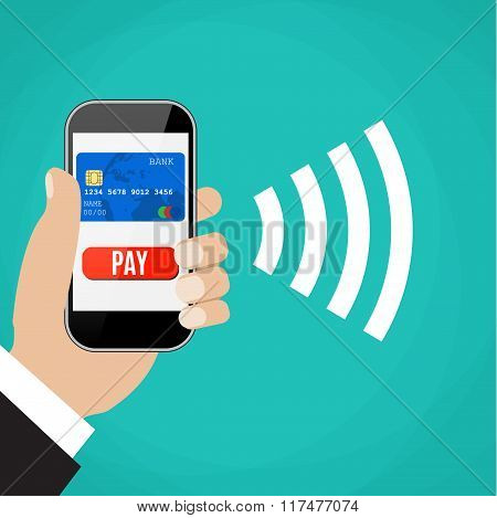 Mobile Payments. Man holding phone.