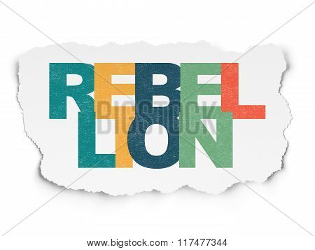 Politics concept: Rebellion on Torn Paper background