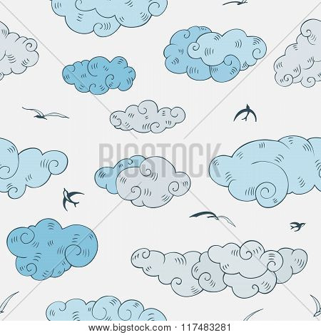 Blue Clouds, seamless pattern.