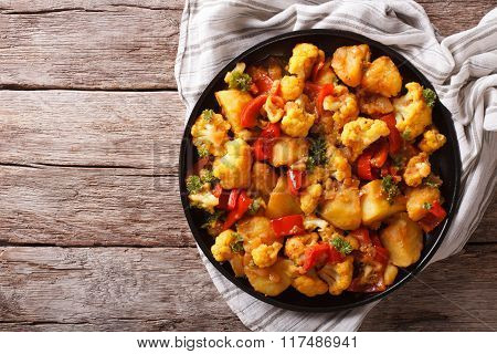 Gobi Aloo With Cauliflower And Vegetables Horizontal Top View