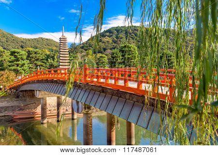 Uji, Kyoto, Japan at the Uji River and thirteen storied pagoda.