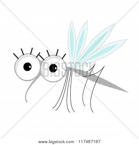 Mosquito. Cute Cartoon Funny Character. Insect Collection. Flat Design.