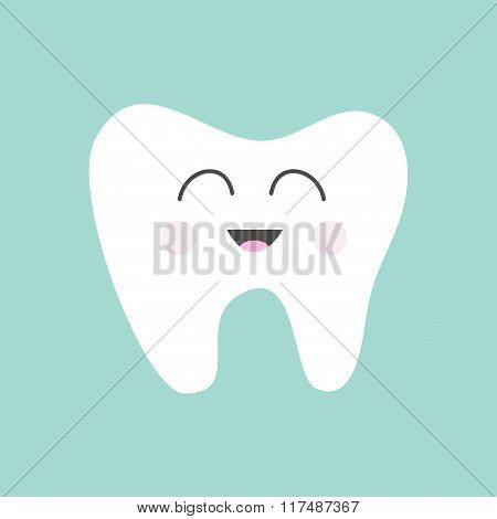 Tooth Icon. Cute Funny Cartoon Smiling Character. Oral Dental Hygiene.  Children Teeth Care. Tooth H