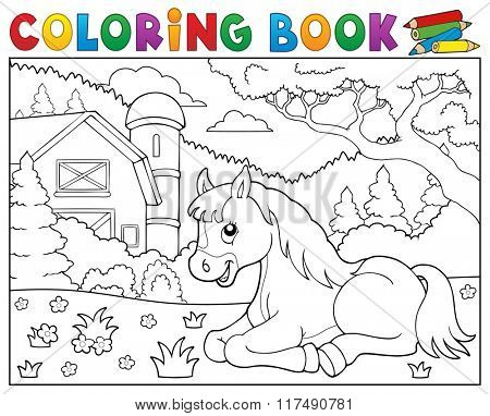 Coloring book horse near farm theme 2 - eps10 vector illustration.