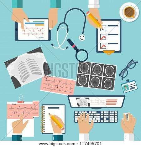 Medical Workplace. Group Professional Doctors